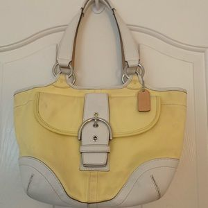 Pale yellow and white small coach bag